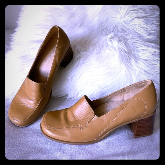 HOLD Hush Puppies Chunky Square Heeled Tan Loafers